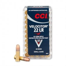 CCI Ammunition Velocitor 22 Long Rifle 40GN Plate Lead Hollow Point (500)