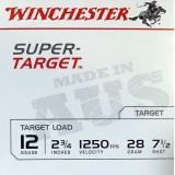 """Winchester Super Target 12 Gauge 1250 7.5 2-3/4"""" 28GM (25)"""